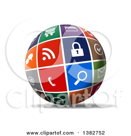 Clipart of a 3d Globe of Colorful Web Icons, with a Shadow on White - Royalty Free Illustration by MacX
