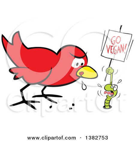 Clipart of a Cartoon Hungry Early Red Bird Drooling and Eyeing a Scared Worm That Is Pleading and Holding a Go Vegan Sign - Royalty Free Vector Illustration by Johnny Sajem