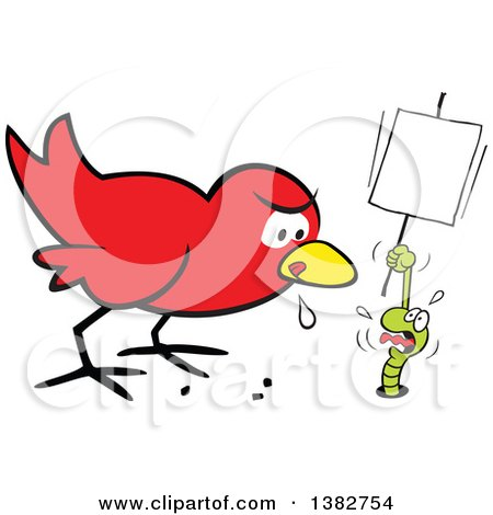 Clipart of a Cartoon Hungry Early Red Bird Drooling and Eyeing a Scared Worm That Is Pleading and Holding a Sign - Royalty Free Vector Illustration by Johnny Sajem