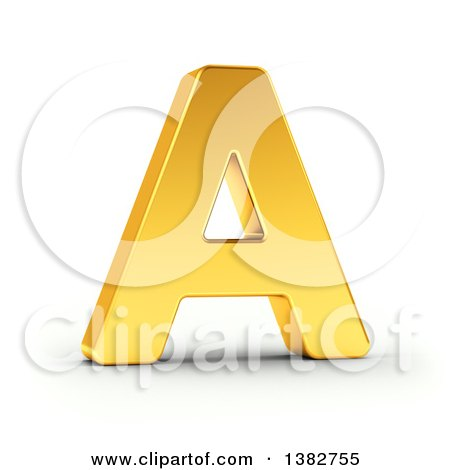 Clipart of a 3d Golden Capital Letter A, on a Shaded White Background, With Clipping Path - Royalty Free Illustration by stockillustrations