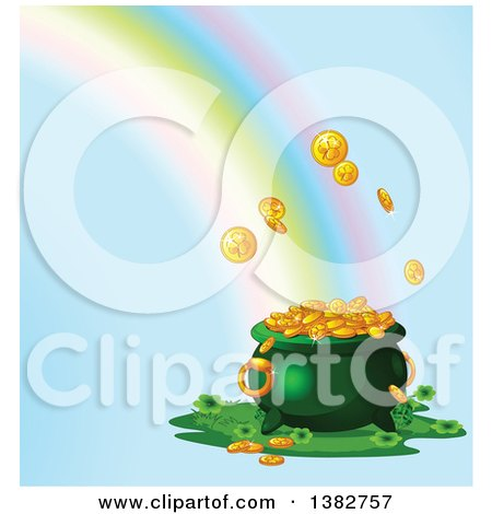 Clipart of a Rainbow Crashing into a Pot of Gold over Blue - Royalty Free Vector Illustration by Pushkin