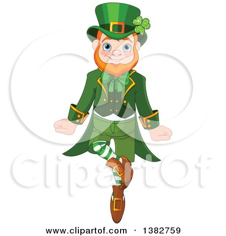 Clipart of a Cheerful St Patricks Day Leprechaun Dancing - Royalty Free Vector Illustration by Pushkin