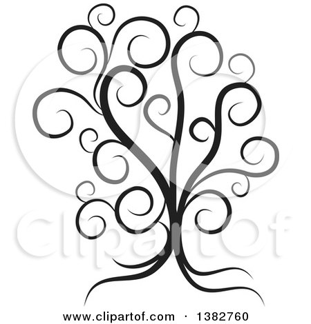 Clipart of a Black and White Abstract Tree with Swirls - Royalty Free Vector Illustration by MilsiArt
