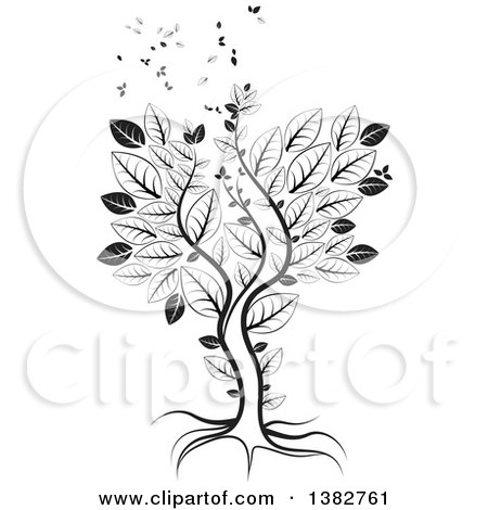 Clipart of a Black and White Abstract Tree with Leaves Flying Away - Royalty Free Vector Illustration by MilsiArt