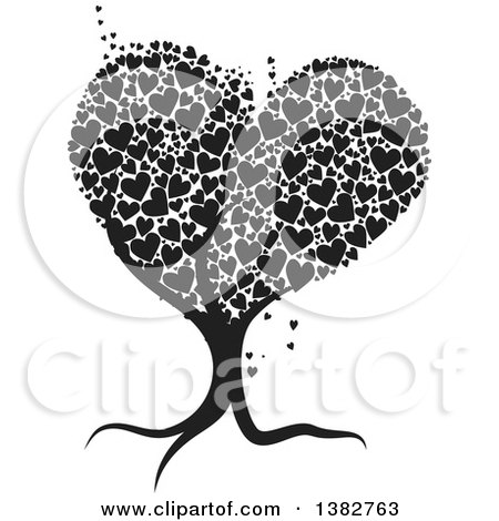 Clipart of a Black and White Abstract Tree with Hearts - Royalty Free Vector Illustration by MilsiArt