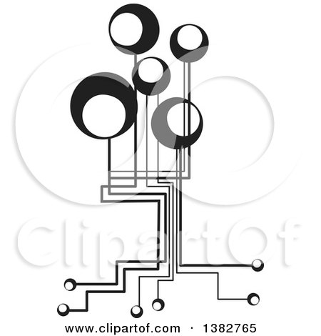 Clipart Of A Black And White Abstract Tree With Circles And Roots Royalty Free Vector Illustration