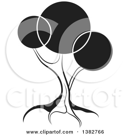 Clipart of a Black and White Abstract Tree with Circles - Royalty Free Vector Illustration by MilsiArt