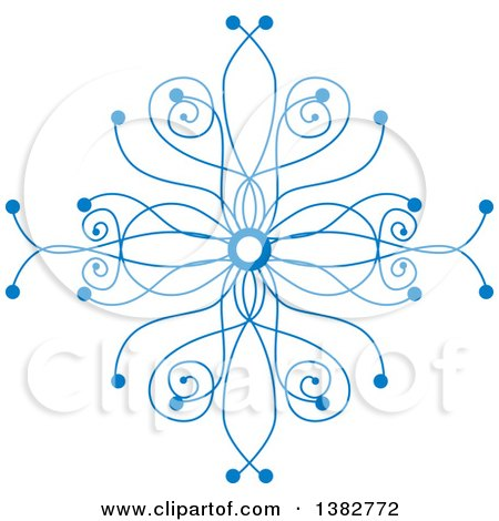 Clipart of a Blue Ornate Winter Snowflake - Royalty Free Vector Illustration by MilsiArt