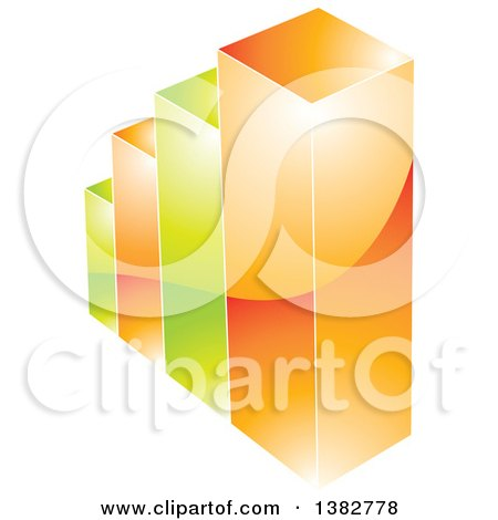 Clipart of a 3d Green and Orange Shiny Bar Graph - Royalty Free Vector Illustration by MilsiArt