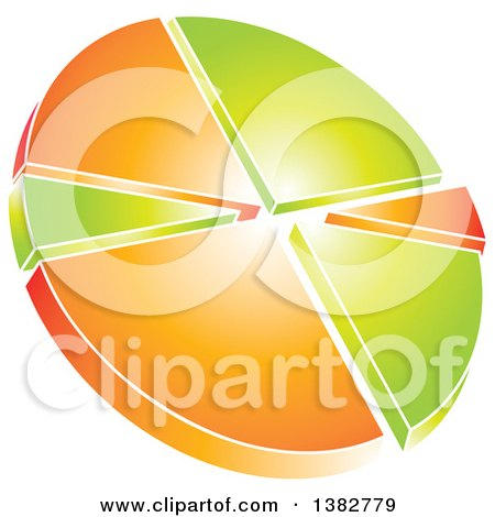 Clipart of a 3d Green and Orange Shiny Pie Chart - Royalty Free Vector Illustration by MilsiArt
