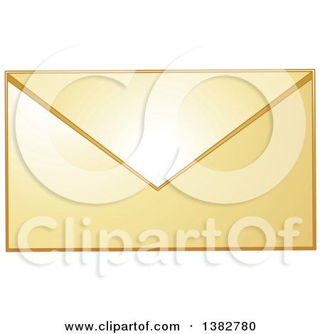 Clipart of a Golden Envelope - Royalty Free Vector Illustration by MilsiArt