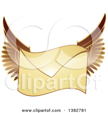 Clipart of a Golden Envelope with Wings - Royalty Free Vector Illustration by MilsiArt