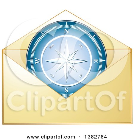 Clipart of a Golden Envelope with a Compass - Royalty Free Vector Illustration by MilsiArt