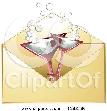 Clipart of a Golden Invitation Envelope with Champagne Glasses - Royalty Free Vector Illustration by MilsiArt