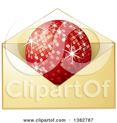 Clipart of a Golden Invitation Envelope with a Red Disco Ball - Royalty Free Vector Illustration by MilsiArt
