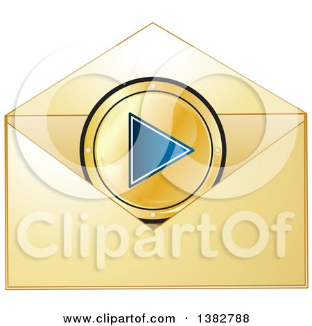 Clipart of a Golden Invitation Envelope with a Media Play Button - Royalty Free Vector Illustration by MilsiArt
