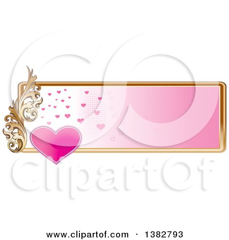 Clipart of a Valentines Day Website Banner Header with a Pink Heart, Gold Frame and Ornate Floral Scroll - Royalty Free Vector Illustration by MilsiArt