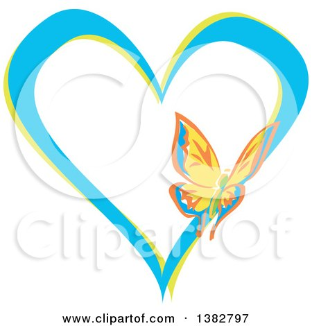 Clipart of a Butterfly on a Blue and Green Love Heart - Royalty Free Vector Illustration by MilsiArt