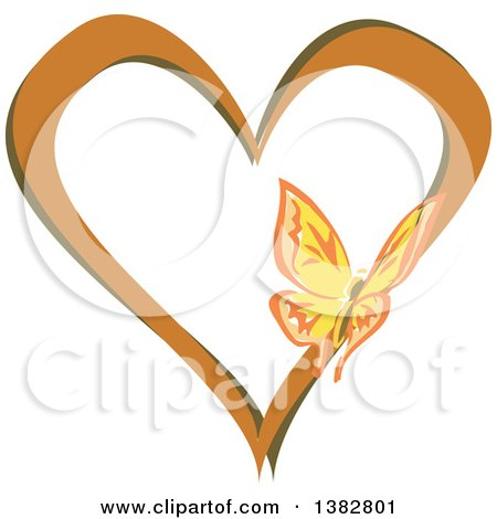 Clipart of a Butterfly on a Brown and Green Love Heart - Royalty Free Vector Illustration by MilsiArt