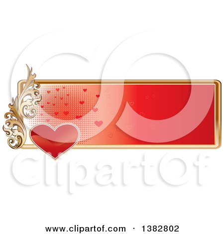 Clipart of a Valentines Day Website Banner Header with a Red Heart, Gold Frame and Ornate Floral Scroll - Royalty Free Vector Illustration by MilsiArt