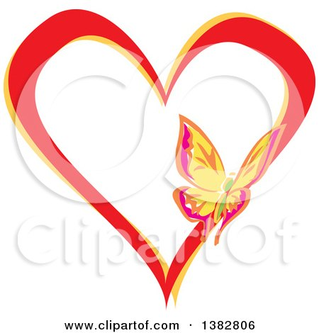 Clipart of a Butterfly on a Red and Yellow Love Heart - Royalty Free Vector Illustration by MilsiArt