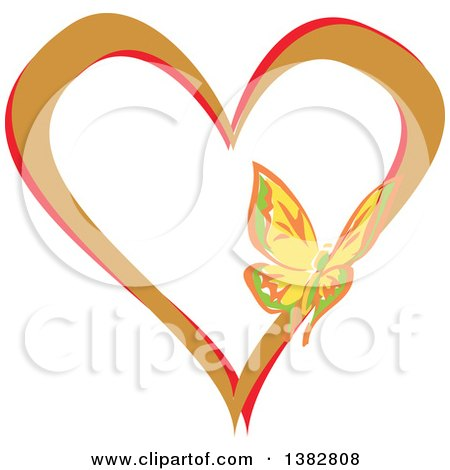 Clipart of a Butterfly on a Brown and Red Love Heart - Royalty Free Vector Illustration by MilsiArt
