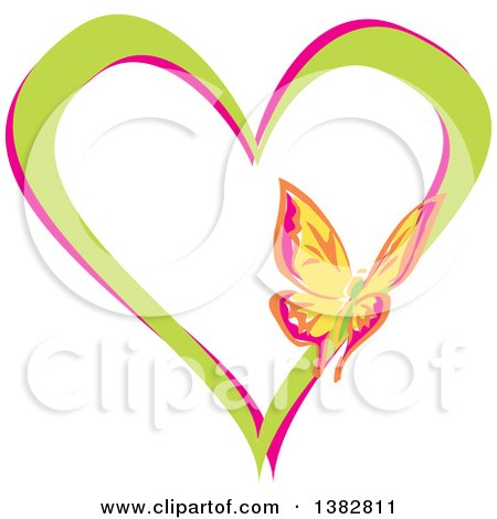 Clipart of a Butterfly on a Green and Pink Love Heart - Royalty Free Vector Illustration by MilsiArt