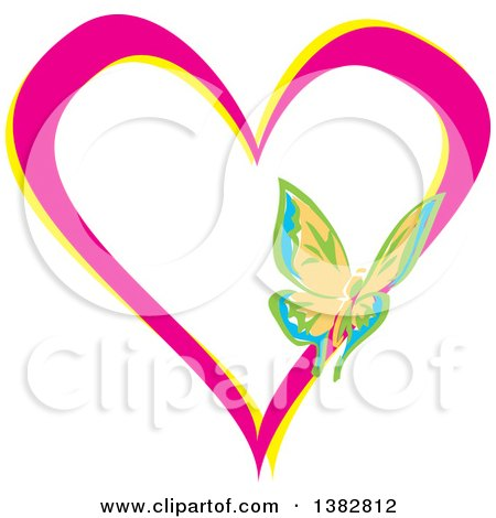 Clipart of a Butterfly on a Pink and Yellow Love Heart - Royalty Free Vector Illustration by MilsiArt