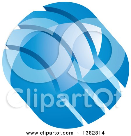 Clipart of a 3d Abstract Blue Glossy Circle Icon with Split Parts - Royalty Free Vector Illustration by MilsiArt