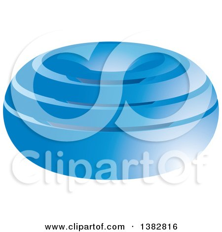 Clipart of a 3d Abstract Blue Oval Icon - Royalty Free Vector Illustration by MilsiArt