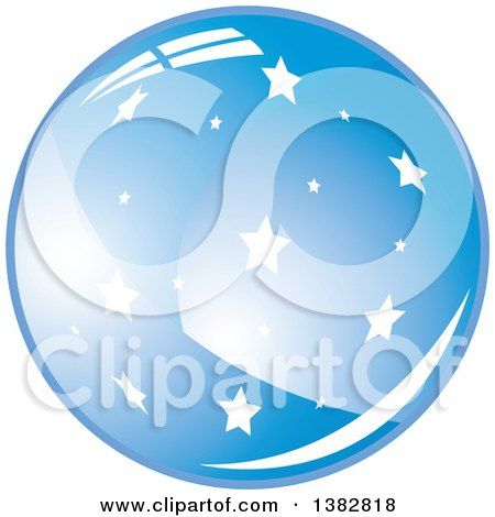 Clipart of a 3d Abstract Shiny Blue Starry Sphere Icon - Royalty Free Vector Illustration by MilsiArt