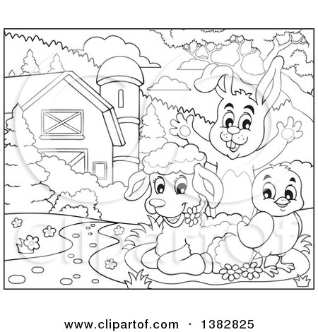 Clipart of a Black and White Lineart Rabbit, Chick and Lamb in a Barnyard - Royalty Free Vector Illustration by visekart