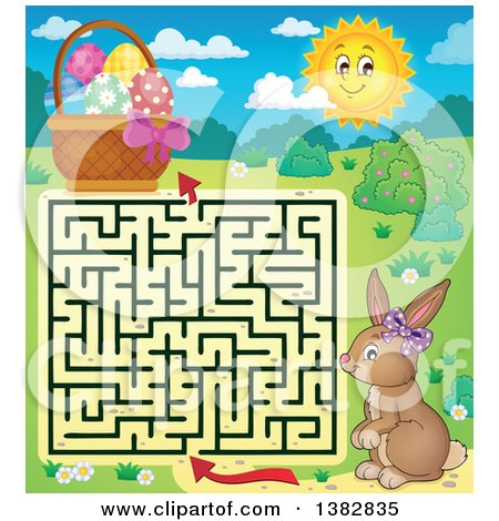 Clipart of a Maze Leading a Bunny Rabbit to an Easter Basket - Royalty Free Vector Illustration by visekart