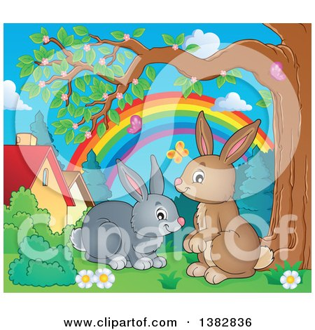 Clipart of Happy Brown and Gray Bunny Rabbits in a Yard - Royalty Free Vector Illustration by visekart