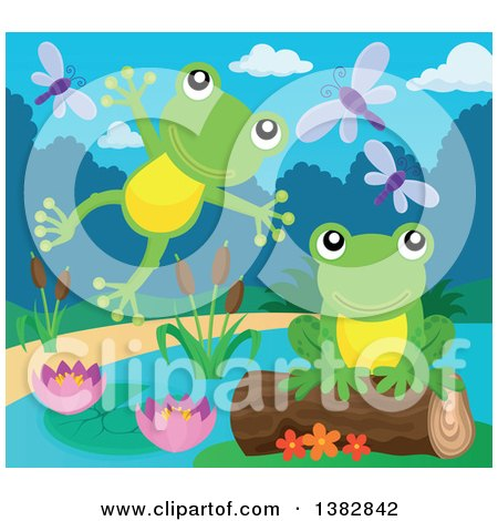 Clipart of Happy Green Frogs Leaping and Jumping at a Pond - Royalty Free Vector Illustration by visekart