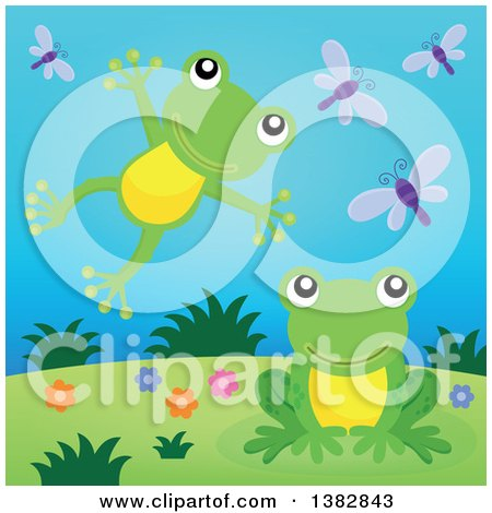 Clipart of Happy Green Frogs Leaping and Jumping on a Hill - Royalty Free Vector Illustration by visekart