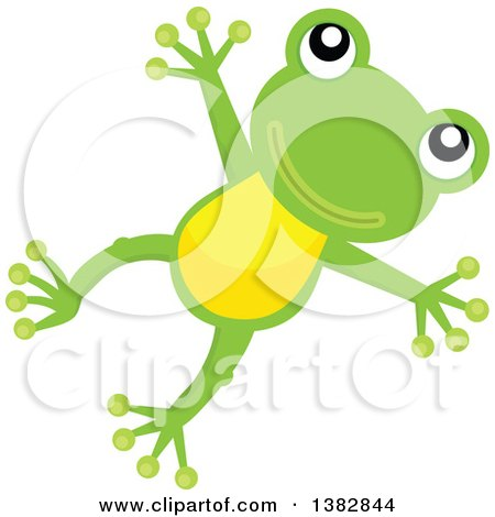 Clipart of a Happy Green Frog Jumping - Royalty Free Vector Illustration by visekart