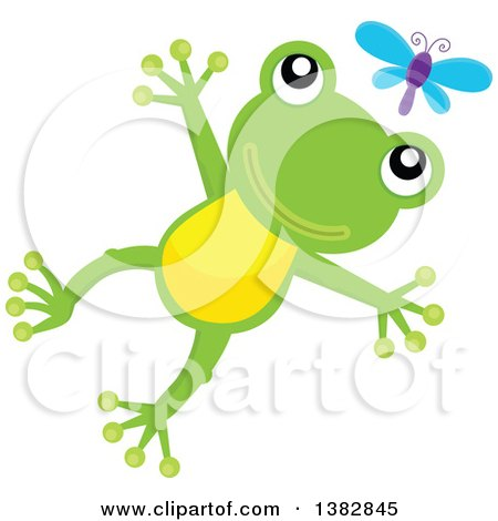 Clipart of a Happy Green Frog Jumping After a Dragonfly - Royalty Free Vector Illustration by visekart
