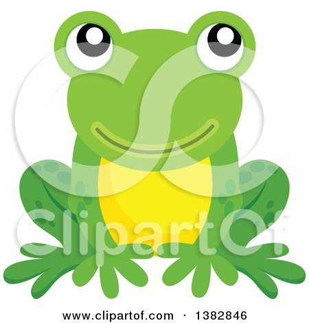 Clipart of a Happy Green Frog Sitting - Royalty Free Vector Illustration by visekart