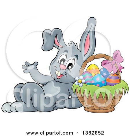 Clipart of a Happy Gray Easter Bunny Rabbit Leaning Against a Basket of Eggs - Royalty Free Vector Illustration by visekart