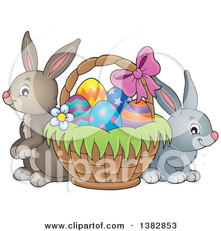 Clipart of Happy Easter Bunny Rabbits by a Basket of Eggs - Royalty Free Vector Illustration by visekart