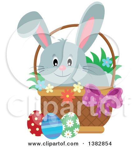 Clipart of a Happy Gray Easter Bunny Rabbit in a Basket of Eggs - Royalty Free Vector Illustration by visekart