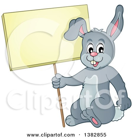 Clipart of a Happy Gray Bunny Rabbit Holding a Blank Sign - Royalty Free Vector Illustration by visekart