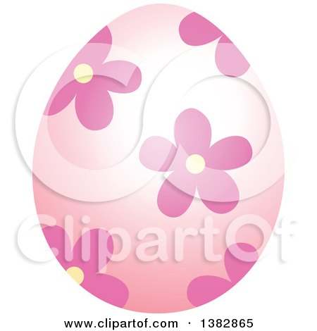 Clipart of a Pink Easter Egg with Flowers - Royalty Free Vector Illustration by visekart