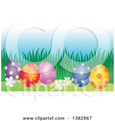 Clipart of Decorated Easter Eggs in the Grass - Royalty Free Vector Illustration by visekart