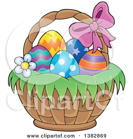 Clipart of a Basket of Easter Eggs - Royalty Free Vector Illustration by visekart