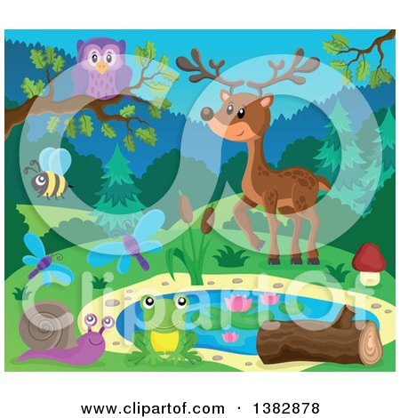 Clipart of a Pond with Wild Animals and Insects - Royalty Free Vector Illustration by visekart