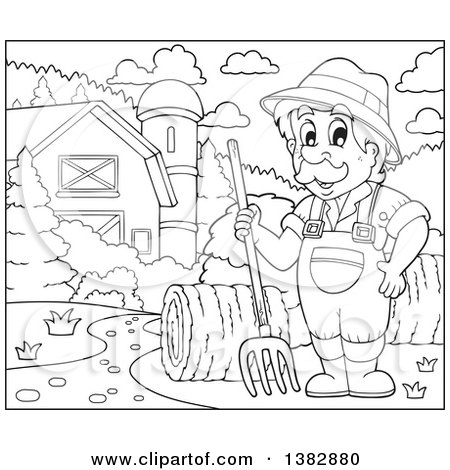 Clipart of a Black and White Lineart Male Farmer with Hay in a Barnyard - Royalty Free Vector Illustration by visekart
