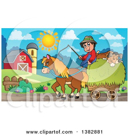 Clipart of a Farmer and Dog Riding on a Hay Cart Drawn by a Horse in a Cart - Royalty Free Vector Illustration by visekart