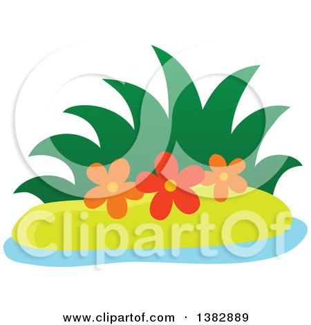 Clipart of a Small Island with Grass and Flowers - Royalty Free Vector Illustration by visekart